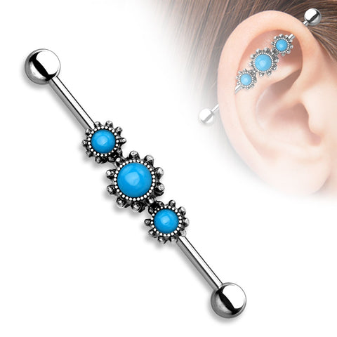 14g Industrial Barbell Triple Round Turquoise Center 316L Industrial bar 1 1/2''