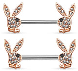 Body Accentz Crystal Paved Playboy Bunny Ends 316L Surgical Steel sold as pair
