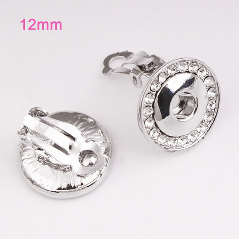 Crystal Ear clip fits 12mm Snap Button Earring  DIY jewelry