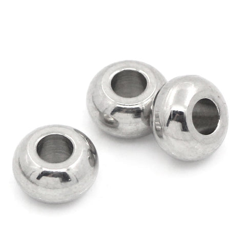 100PCs Stainless Steel Spacer Round Beads For Jewelry Making Charms Bead DIY Bracelet High Quality Silver Tone 5mm