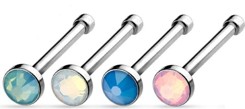 20g 5/16 Flat Top Press Fit Opalite Stone 316L Surgical Steel Nose Ring Stud 4 Pcs Value Pack