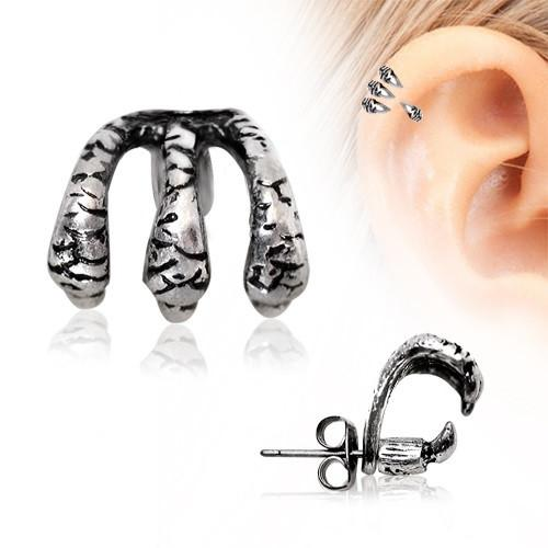 Tragus Piercing 316L Stainless Steel Trident Triple Claw Cartilage Earring 22g