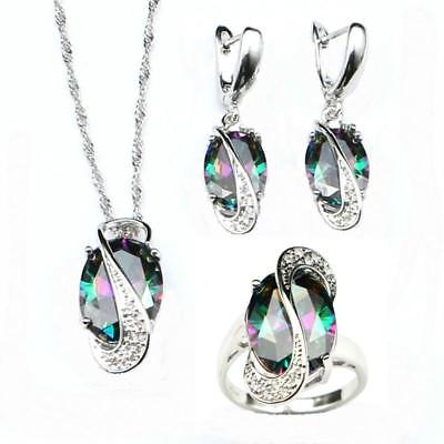 Mystic Rainbow Cubic Zirconia Jewelry Sets 925 Sterling Silver  Necklace/Earring