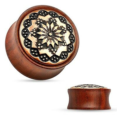 Ear plug Floral Tribal Pattern Rose Wood Saddle Fit 0g