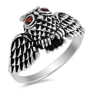 Sterling  Silver Ring - Owl and Wings