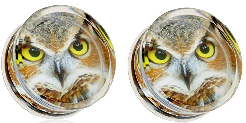 Earrings Owl Print Encased Clear Acrylic Saddle Fit Plug 00g