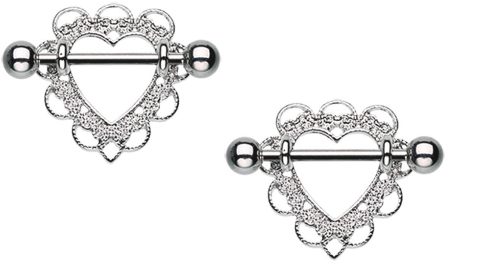 Nipple Bar Heart Filigree Nipple Shield Ring Sold as pair