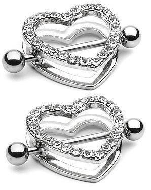 Body Accentz Nipple Ring Bars Rhinestone Heart Circle of Love Jewelry