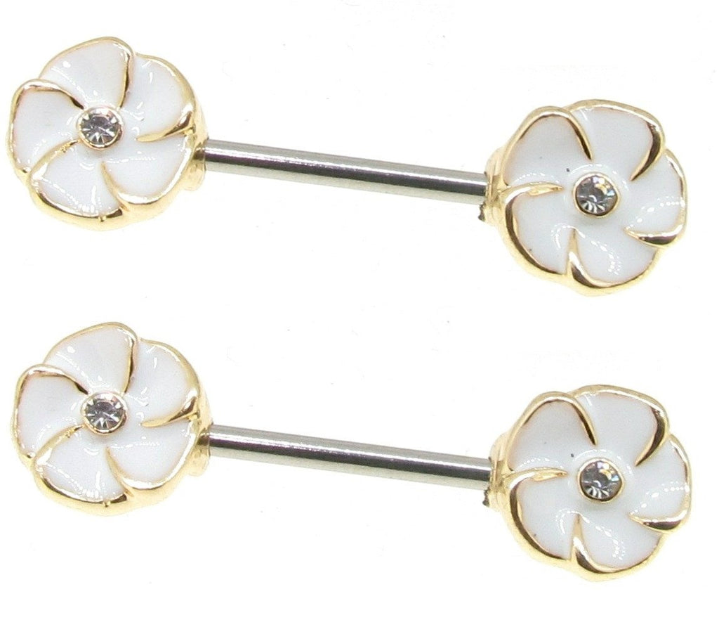 Body Accentz Stainless Steel Barbell Nipple Ring Puma Flower Pair
