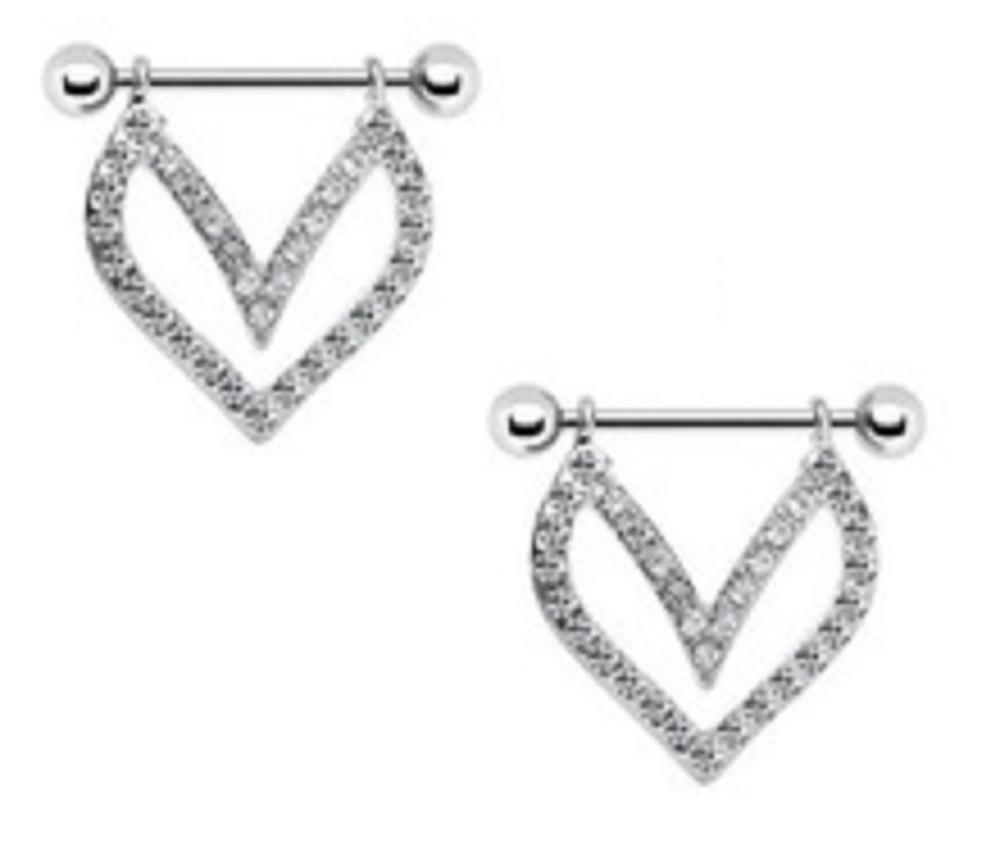 Nipple Shield Rings barbell barbells Crystal dangle sold as a pair 14 gauge