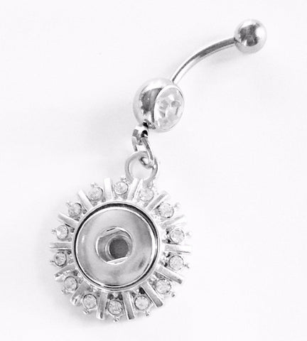 Belly Button Ring Navel CZ Interchangeable Snap Charm Belly Ring  Sun Burst