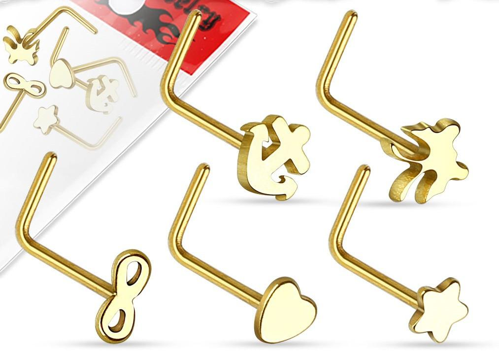 Nose Ring 20g 5 Pieces ''L'' Bend  Anchor Infinity Butterfly Star heart