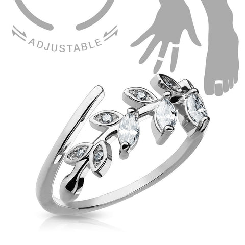 Adjustable Toe Ring/Mid Ring Marquise Cut CZ Set Leaf  Silvertone