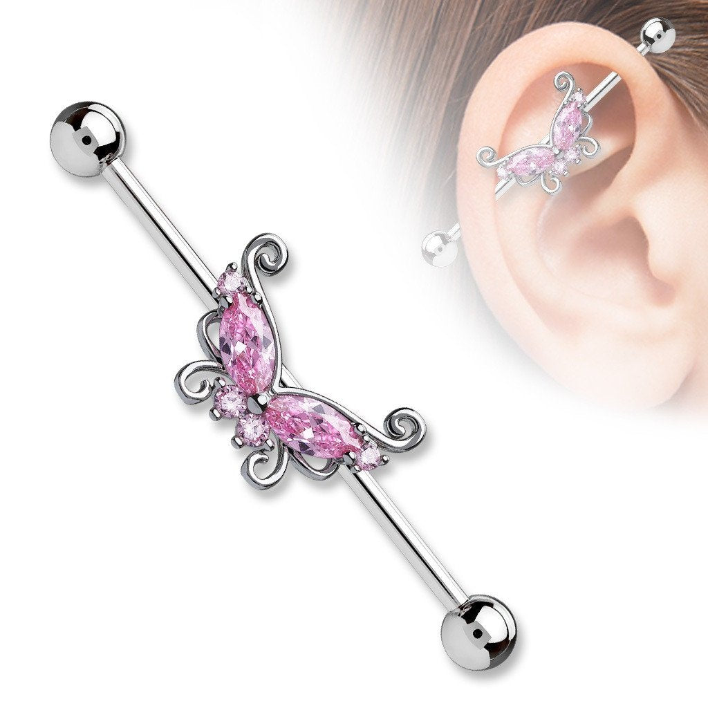 Industrial Barbell Butterfly 316L Surgical Steel 1 1/2 14g Bar