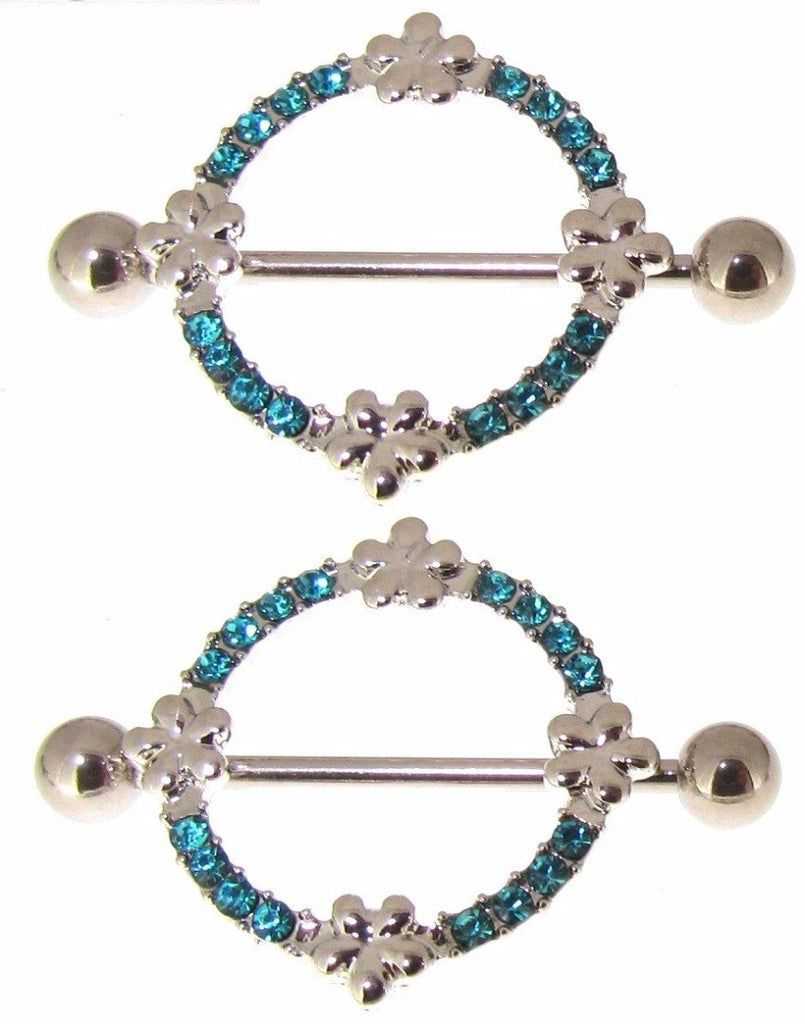 Body Accentz Stainless Steel Barbell Nipple Ring paved gem flower Pair