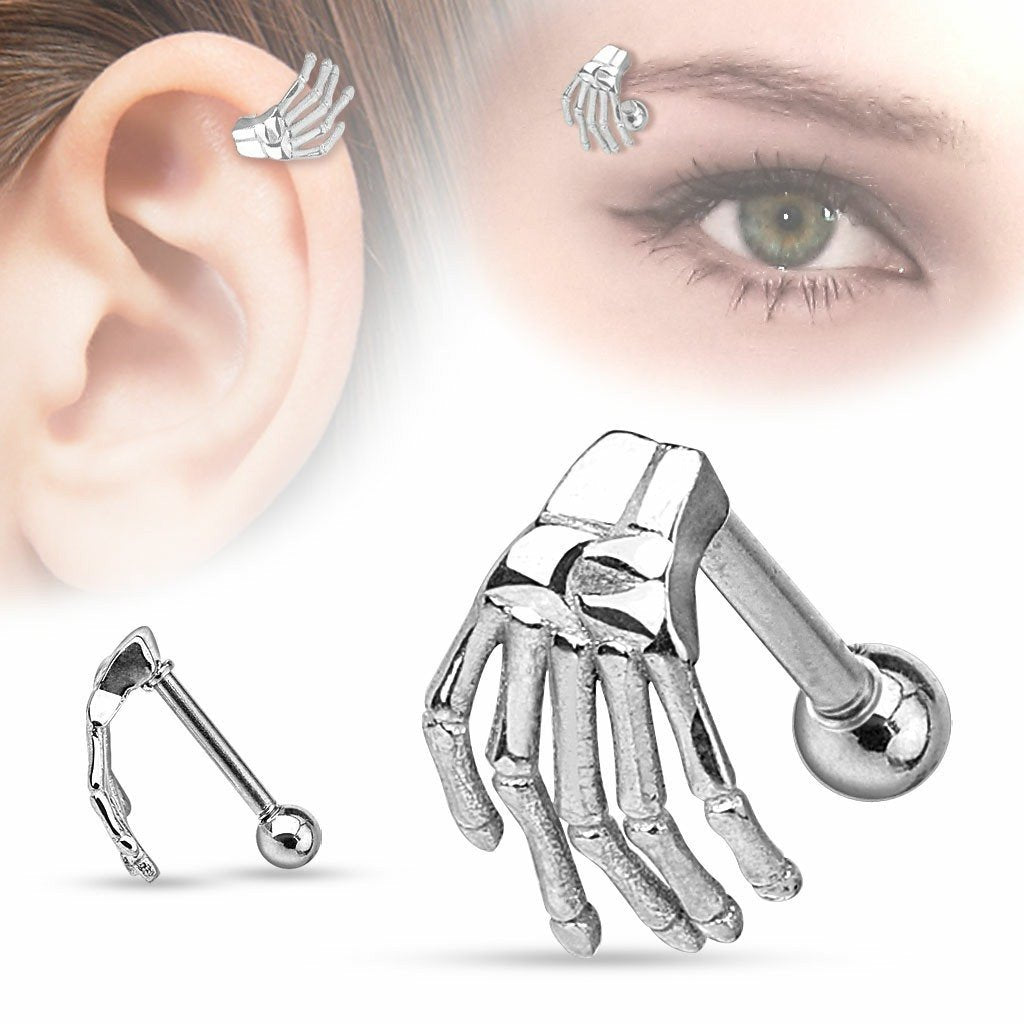 Tragus Skeleton Hand Top 316L Surgical Steel Eyebrow/Cartilage Barbell 16g