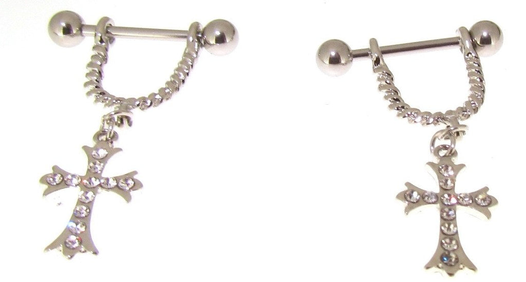 Body Accentz Stainless Steel Barbell Nipple Ring CZ Cross Pair
