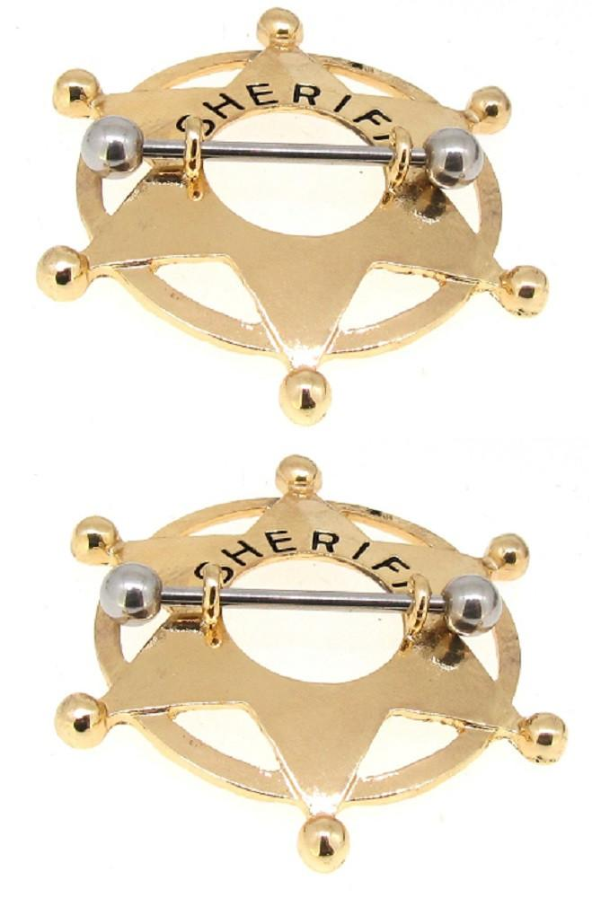 Body Accentz Stainless Steel Barbell Sheriff Badge Nipple Shield 14 Gauge Pair