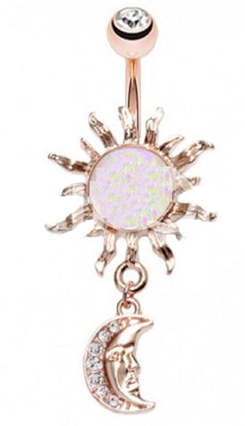 Belly Button Ring Navel 14g Rose Gold Plate Opal Celestial Sun Moon Dangle