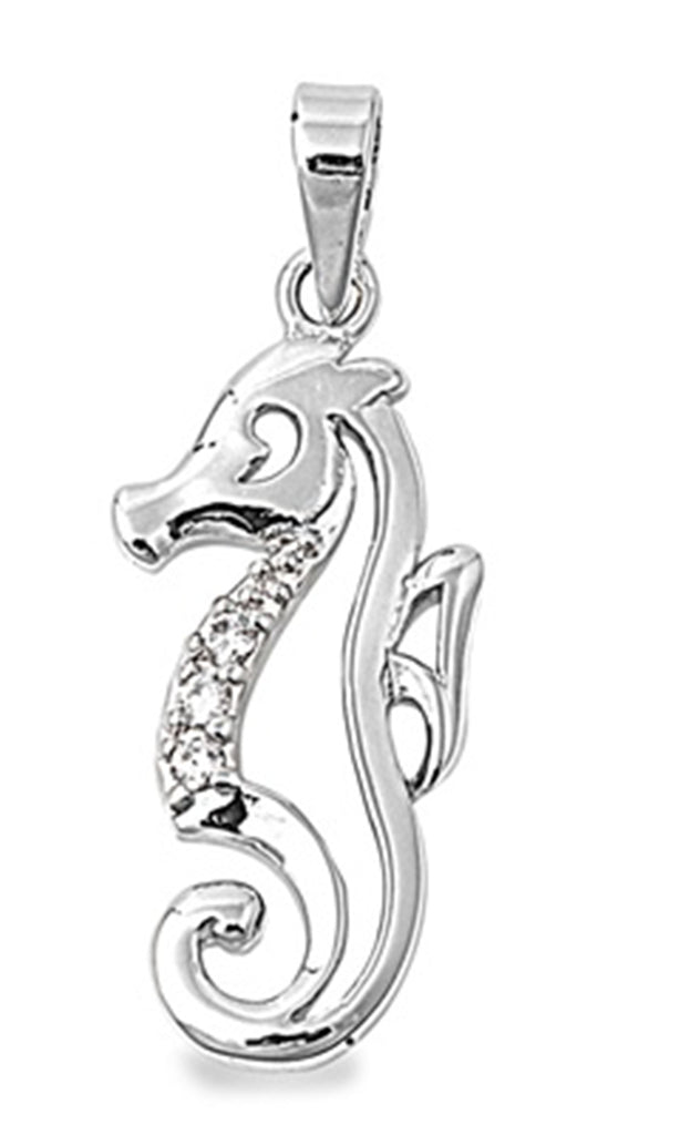 STERLING SILVER Silver Silver Pendant - Seahorse -PENDANT HEIGHT: 22mm Sea Horse CZ