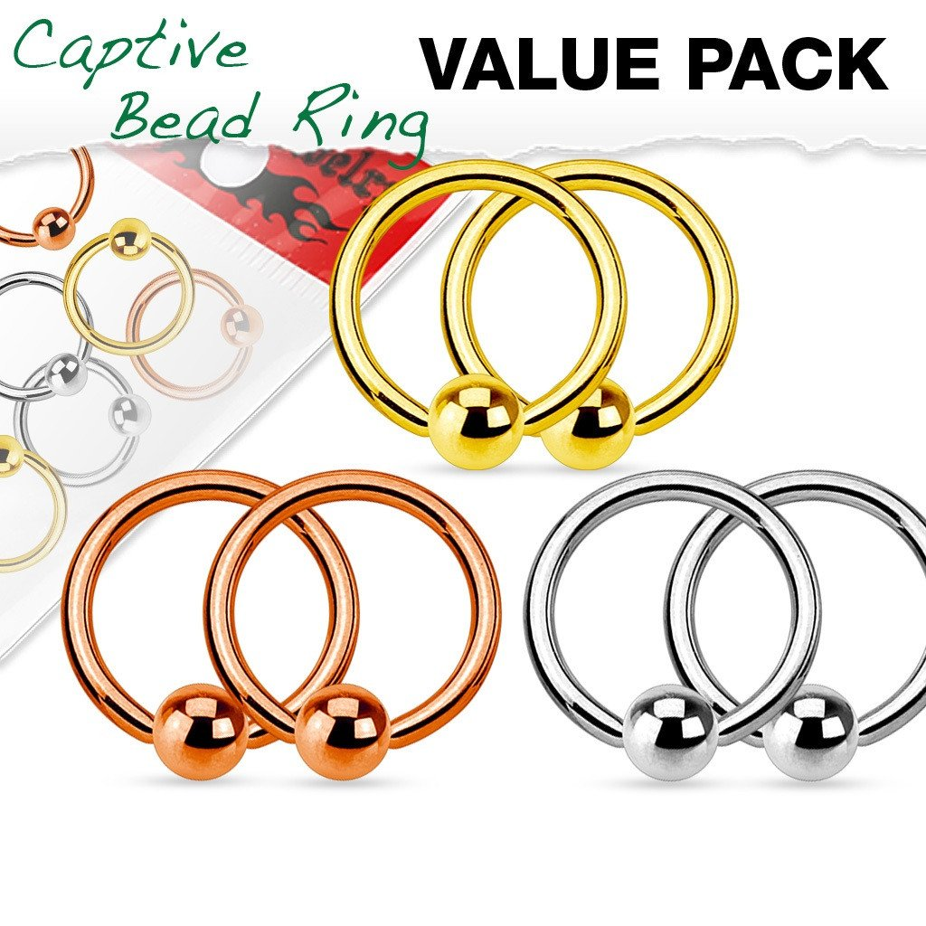 Value Pack 3 Pairs Nipple ring 316L Surgical Steel Captive Bead Rings  Ball