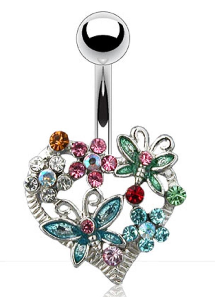 Belly Button Ring Navel Butterfly Flower Heart Body Spring Bouquet 14 Gauge