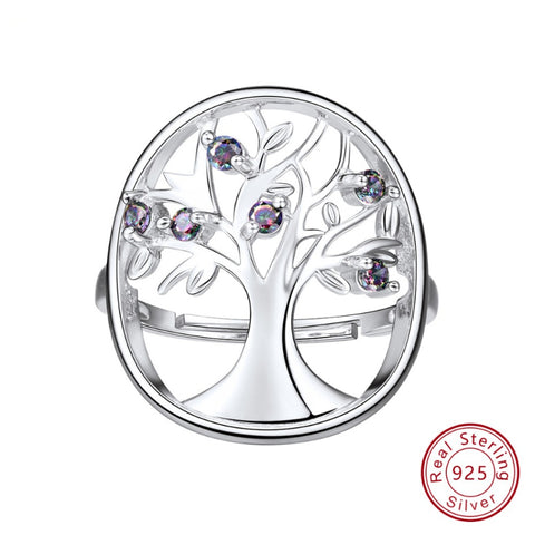 925 Silver Plated  Wisdom Tree Of Life Ring Hollow Rings Women Jewelry  Rainbow Topaz