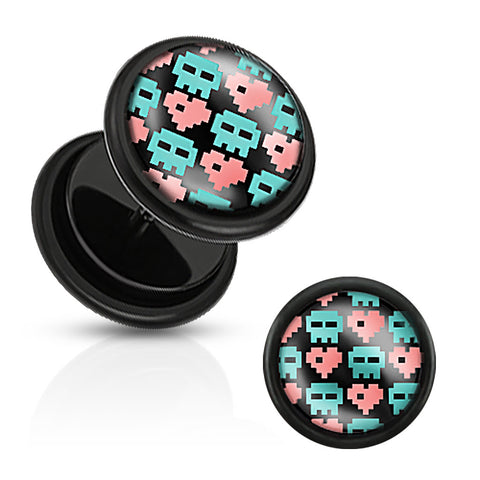 Black Acrylic Fake Plug with Pixel Skull and Hearts Print Inlay with O-Rings