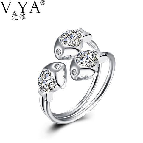 100% 925 Sterling Silver Ring Fishes AAA Crystal S925 Solid Silver Rings for Women Jewelry VYA 925-sterling-silver-ring R30