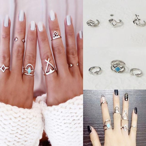 6PCS/Set Vintage Bohemian Turkish Midi Ring Set Steampunk Turquoise Knuckle Ring