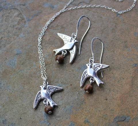Coconut Laden Swallow Earring & Necklace Set