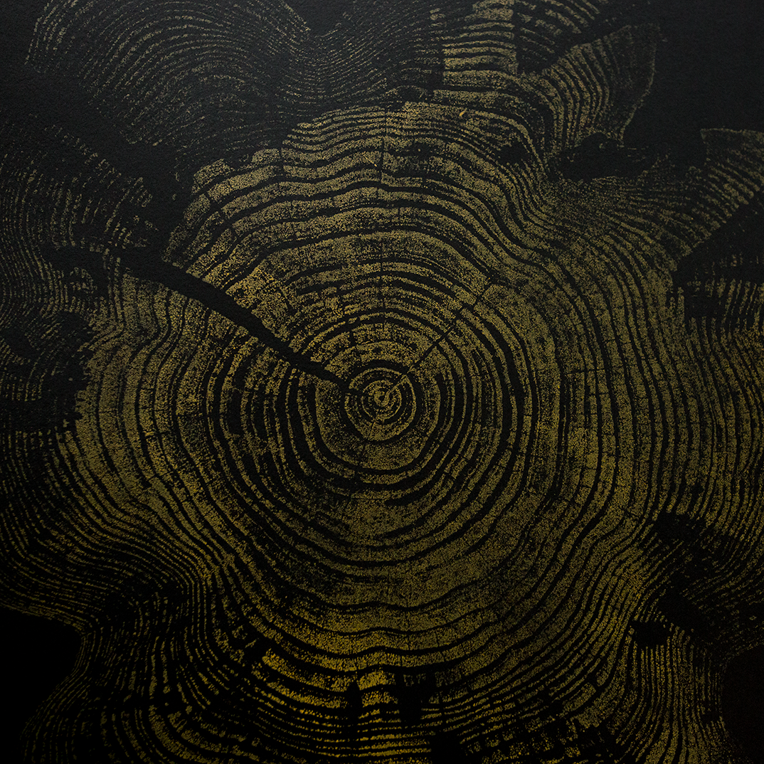 """Pine"" - Yellow Ochre on Black"