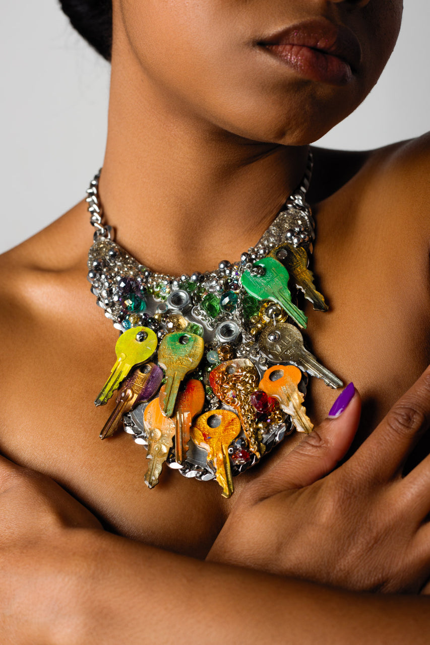 """Custom necklace with crystals, chains, stainless steel, crystal healing, glass beads and colorful metal keys."""