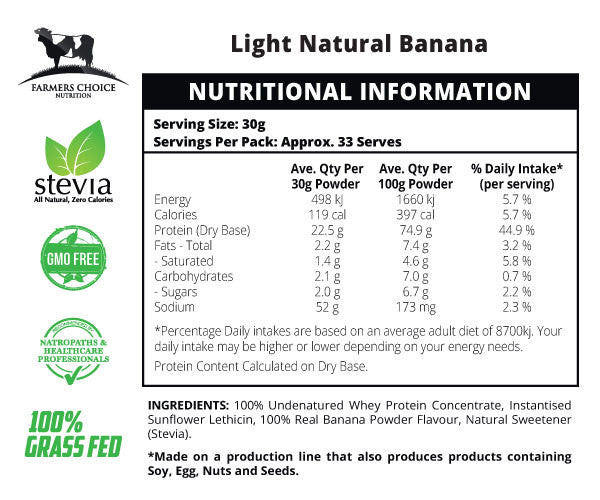 Natural Banana Flavoured Whey Protein Concentrate