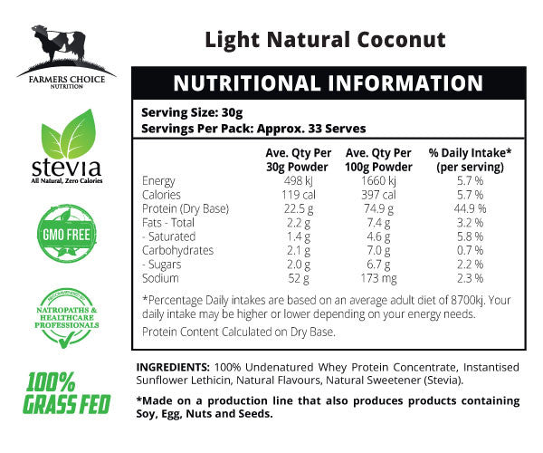 Natural Coconut Flavoured Whey Protein Concentrate