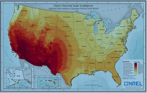 NREL Direct Normal Solar Irradiance map