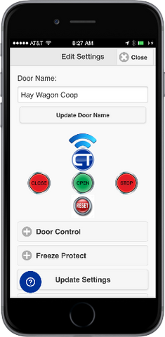 Automatic Chicken Coop Door Internet Wi-Fi Module Web App - Door Settings and Control
