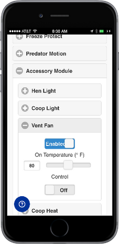 automatic chicken coop door accessory control module web app settings vent fan