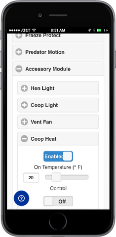 Automatic Chicken Coop Door Internet Wi-Fi Module Web App - Coop Heat Settings