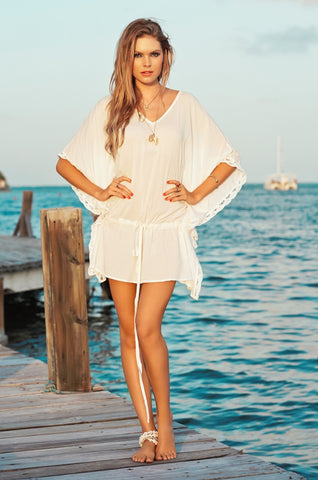 Ivory Shell Lace Caftan Maxi Dress - Malai Collection | Swimme Boutique Miami