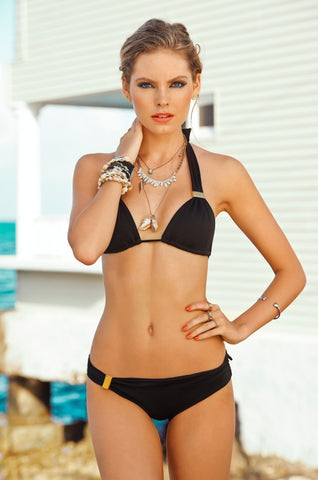 Black Elementary Bottom - Halter Bikini Top Malai Swimwear | Swimme Boutique