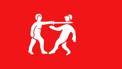 beheading red and white flag from the ancient benin empire