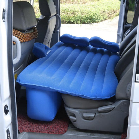 inflatable car mattress in back seat of car