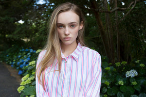 Load image into Gallery viewer, Lara cotton shirt white with pink stripe