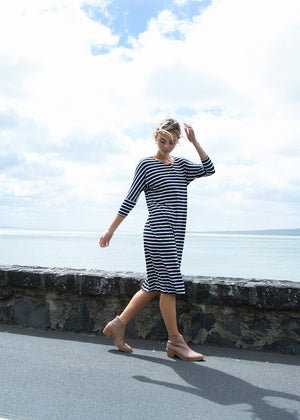 Henley dress - Navy/white stripe or Black/white stripe