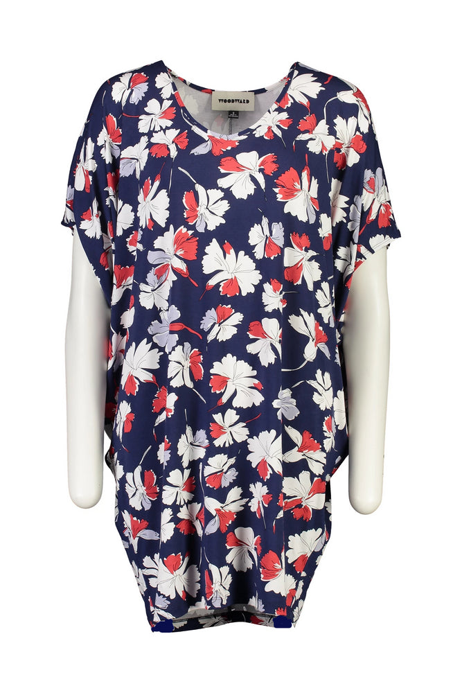 Jane Dress - Midi length navy floral
