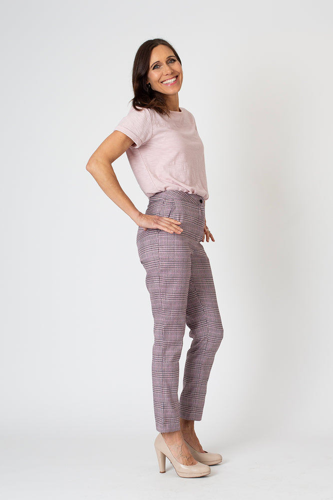 Mia tailored pant - pink check