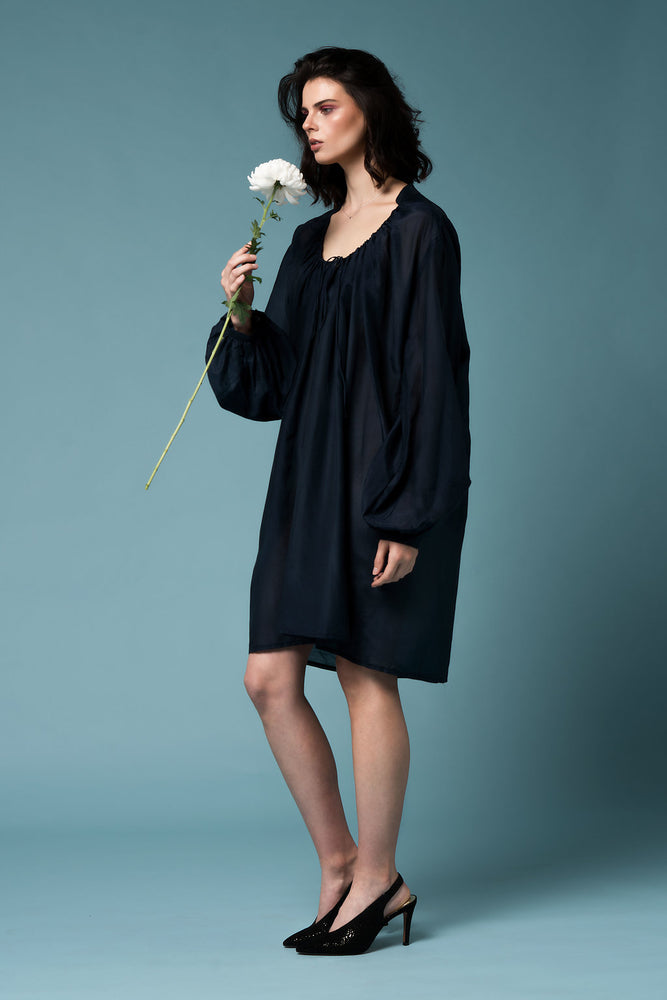 Monet dress - Black silk cotton