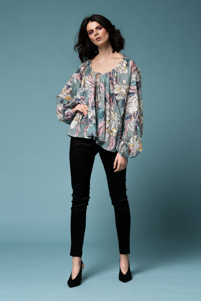 Monet top - Floral silk cotton