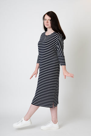 Load image into Gallery viewer, Henley dress black white stripe